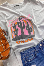 Desert Dreams- Lt. Blue w/ Neon Pink & Orange Rainbow & Cactus Graphic Tee