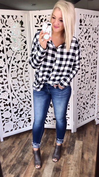 Sweet Little Something- B&W Plaid Button Up