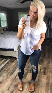 Beautiful Girl- White top with Blue and White Stripes