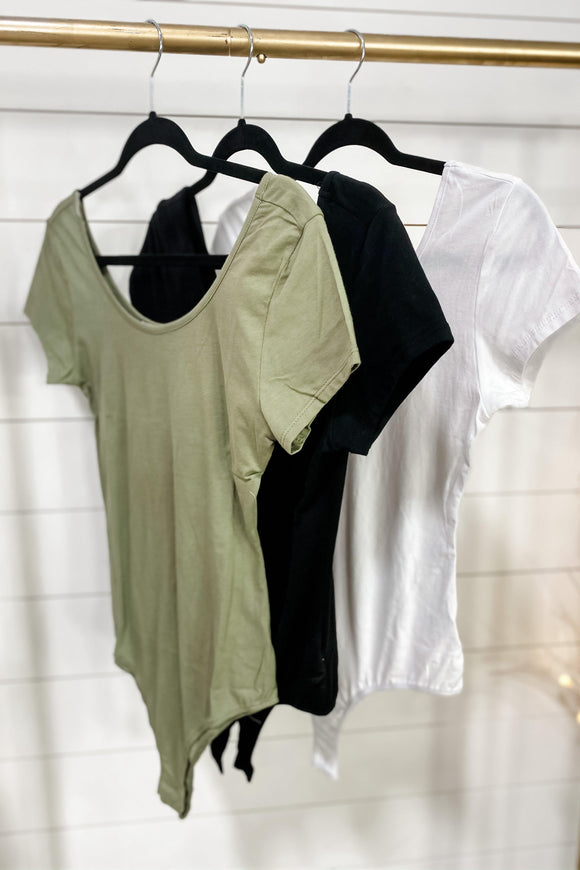 Being There- {Black, Olive, White} Scoop Neck Bodysuit