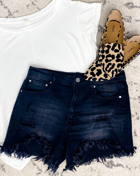 The Bry's- {Black}{Light Wash} Distressed Shorts