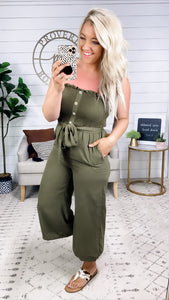 I Got You- Olive Jumpsuit w/ Smocking Top