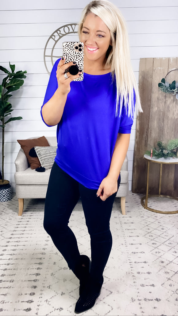 Feeling Blue- Royal Blue Loose Fit Top