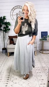 All My Fault- GRAY Maxi Skirt