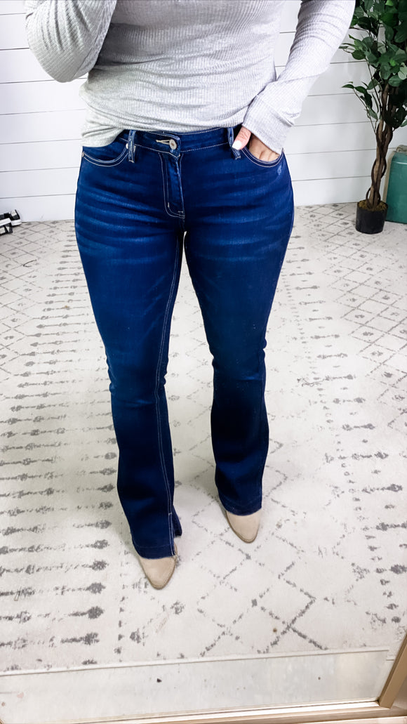 The Demi's- Dark Wash Mid Rise Flare Jeans