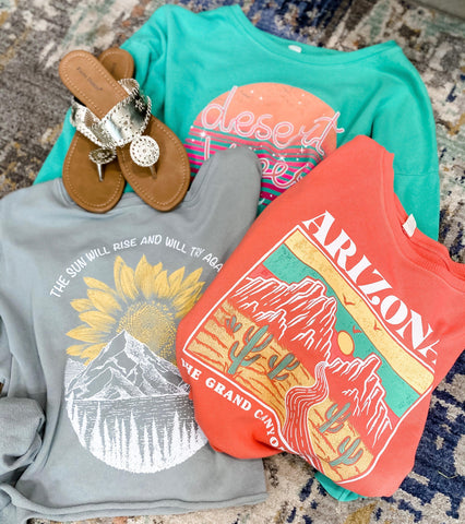 On Repeat- {Coral, Gray, & Jade} Graphic Crop Long Sleeve Tops