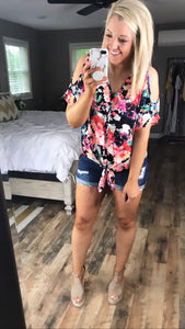 Fun & Flirty- Floral Front Knot Cold Shoulder