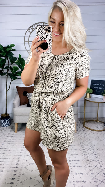 Hold You Close- Tan & Black Dalmatian Romper w/ Zipper