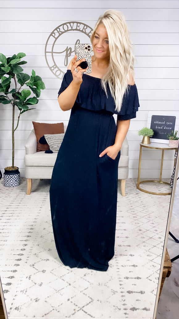 No Matter What- BLACK Off Shoulder Maxi Dress