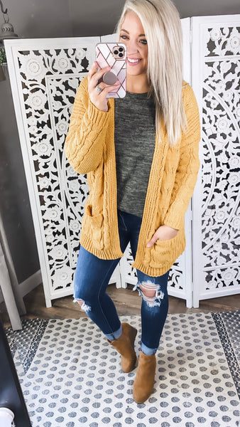 Here We Are- Mustard Knit Cardigan