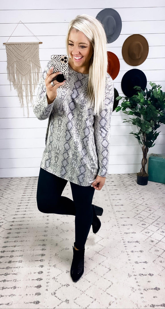 Cold Is Coming- Snake Print Long Sleeve Tunic