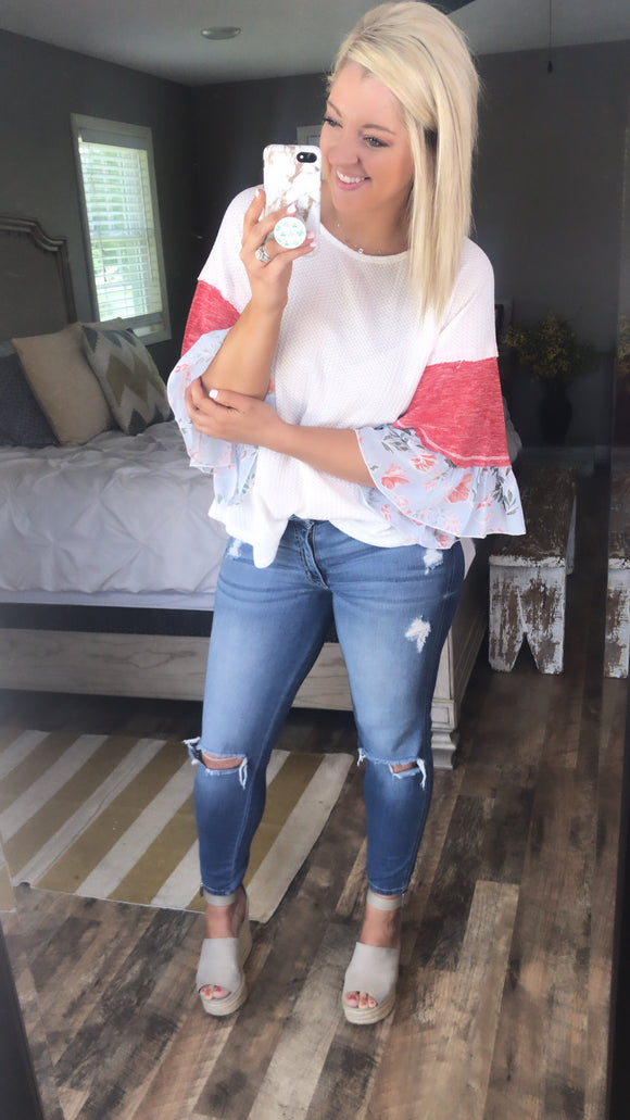 Blow Your Mind- White Knit Top w/ Contrast Detail Ruffle