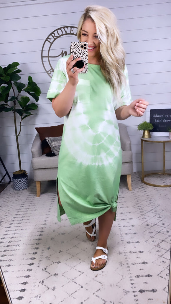 Not Mad About It- Green Tie Dye Dress