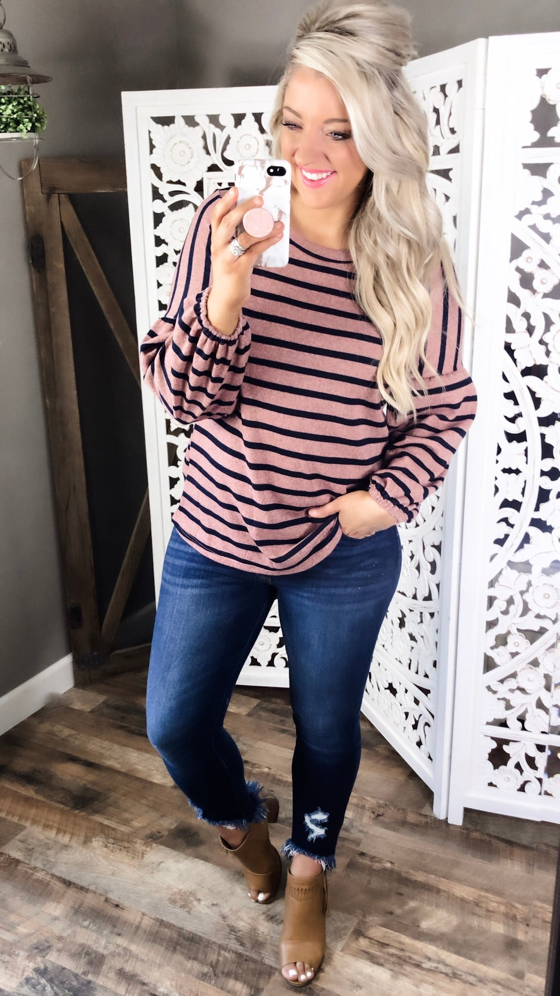 Middle Of The Night- Mauve & Navy Stripes