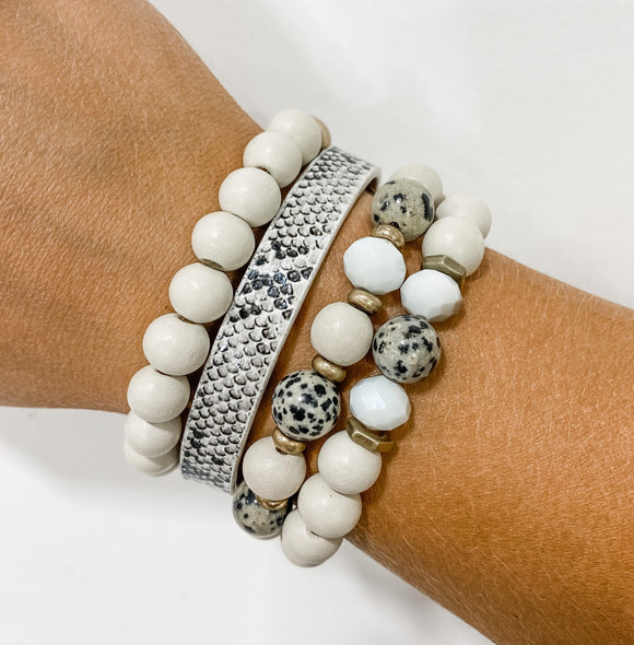Beaded & Band Stack Bracelet Set