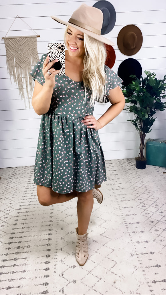 Baby Let's Go- Olive Dress w/ Floral Print