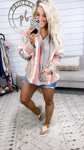 Never Asking Why- Coral & Sage Stripes Relaxed Hoodie