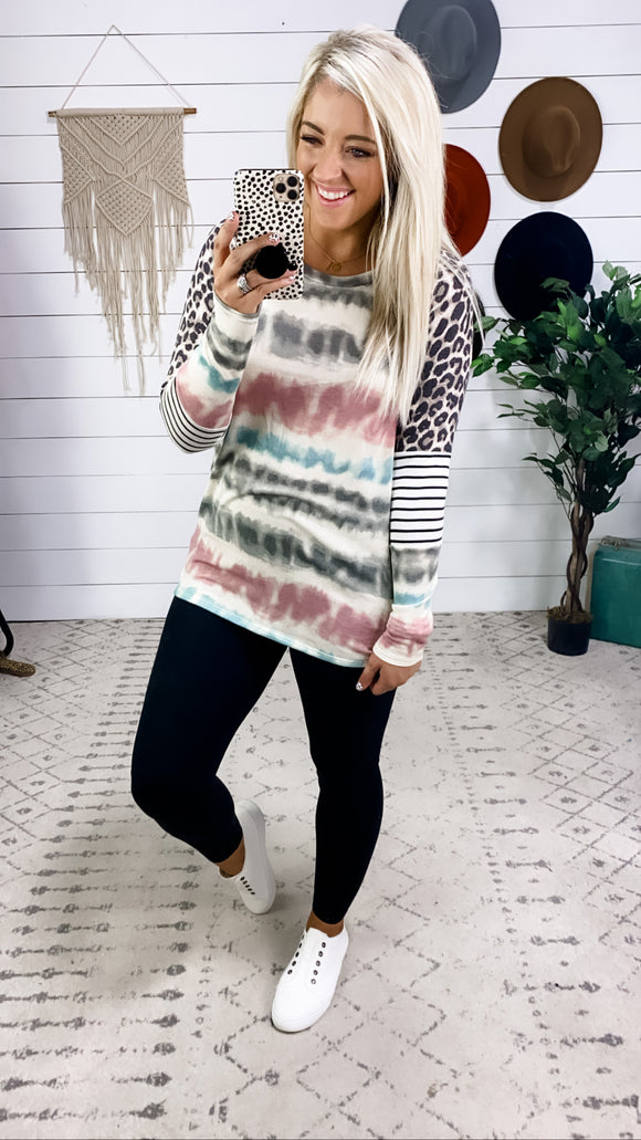 Change Is Good- Tie Dye/Stripes/Leopard Color Block Sleeves