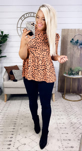 Sweet Emotion- Rust Dalmatian Ruffle Top