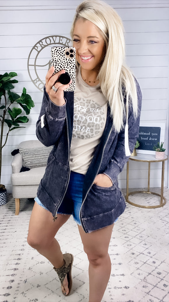 In A Pinch- CHARCOAL Acid Wash Zip Up Jacket