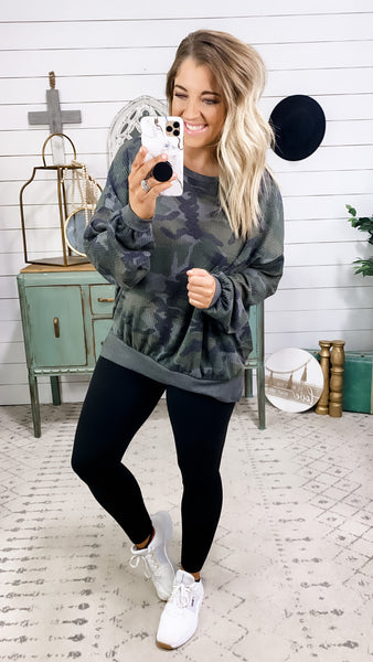 Wish You Well- Camo & Charcoal Thermal Long Sleeve Top