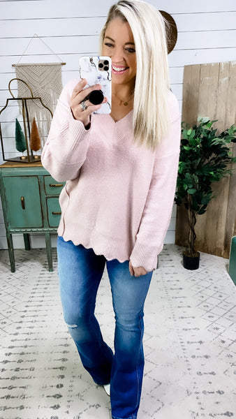 Don't Run Away- Blush Sweater w/ Scalloped Edges