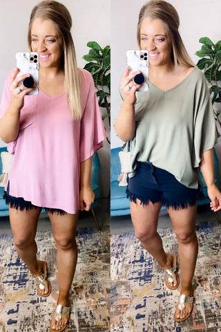 Go With The Flow- {Olive & Lt. Dusty Rose} Flowy Short Sleeve Top w/ Bell Sleeves