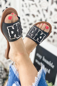 Give Me More- BLACK & Silver Thick Strap Sandal