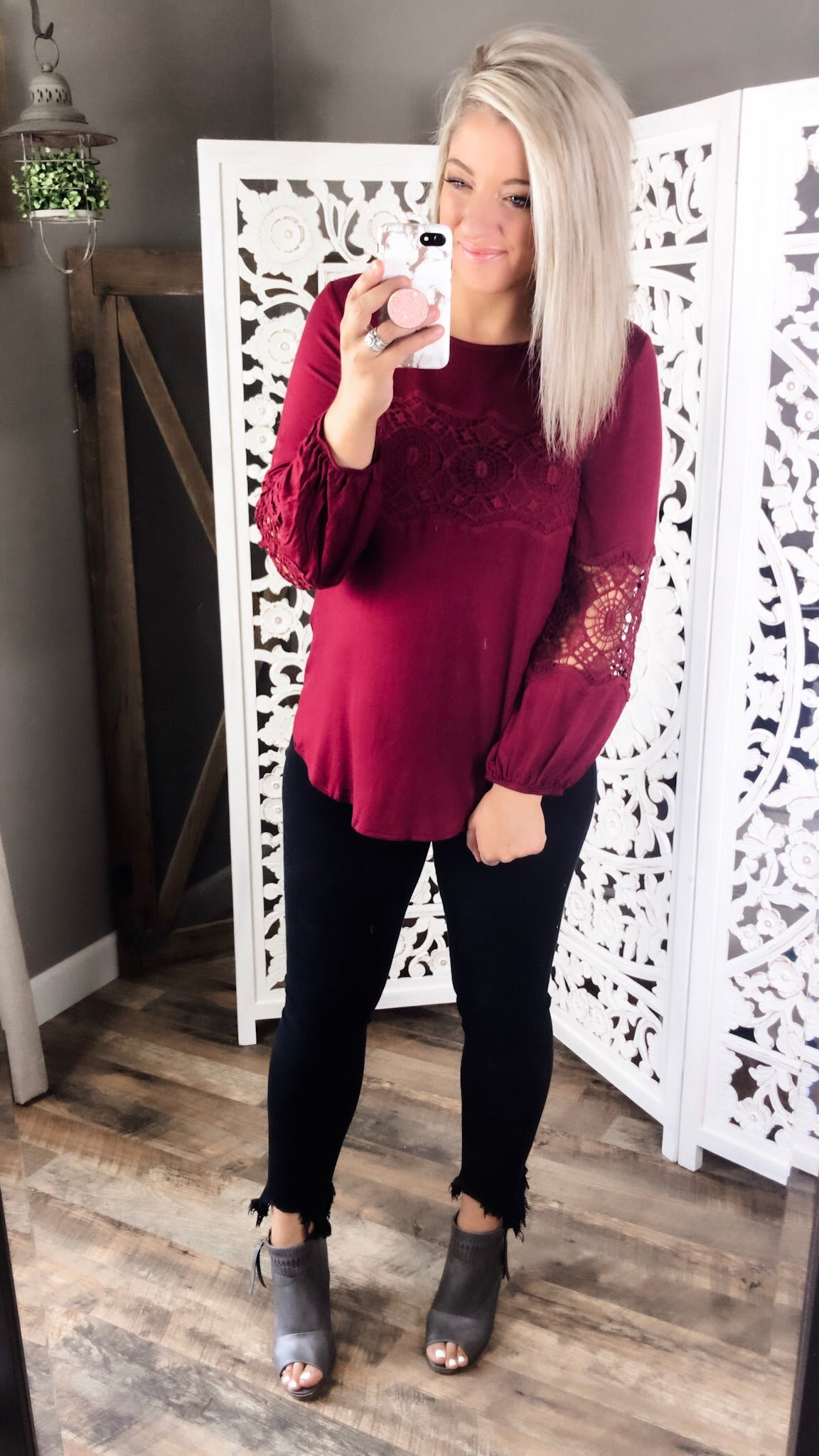 Good At Goodbye- Burgundy Lace Detail Bubble Sleeve