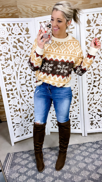 Winter Wonderland- Mustard/Red/Brown Sweater