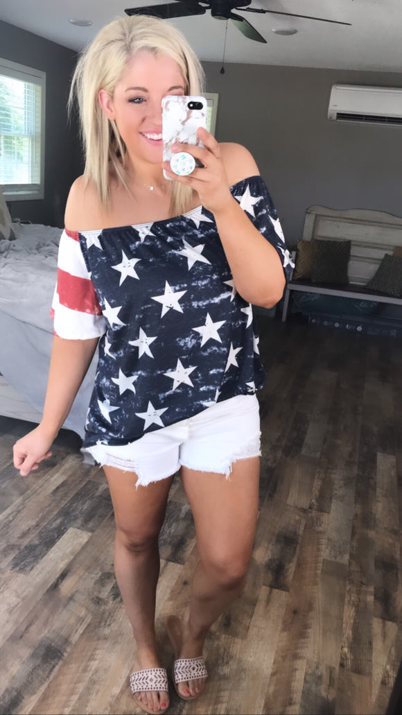 Stand Out- Red/White/Blue Off Shoulder