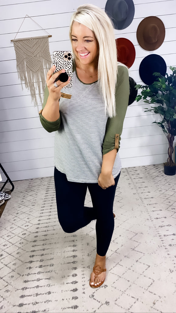 You Could Be- OLIVE 3/4 Sleeve w/ B&W Stripes