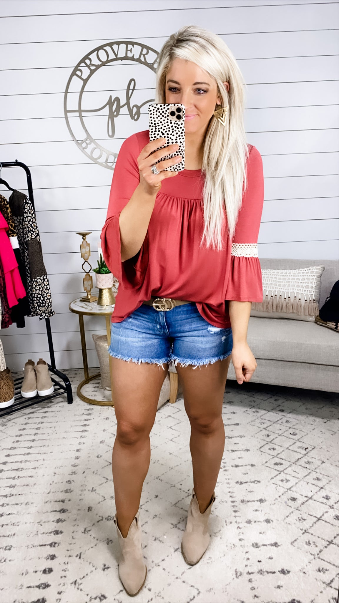 Mean While- Deep Mauve Top w/ Lace Bell Sleeve