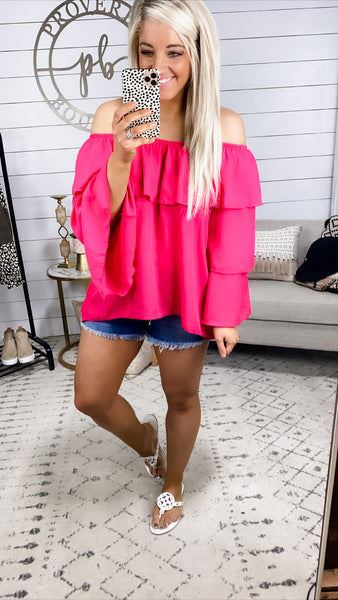 Caught My Eye- Hot Pink Off Shoulder w/ Layers Bell Sleeves