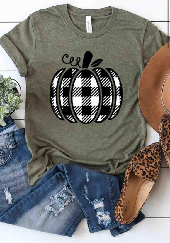 Olive Tee w/ B&W Buffalo Plaid Pumpkin