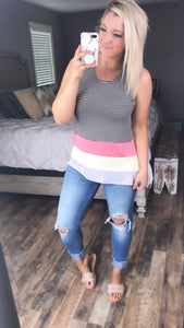 Shake It Up- Wide Stripe Colorful Tank