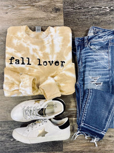 Fall Lover Mustard & White Tie Dye Sweatshirt