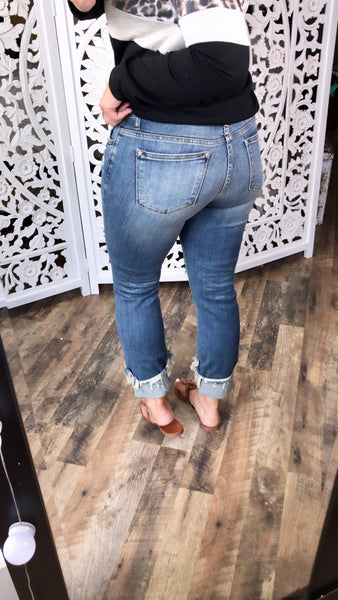 The Zoey's- Destroyed Cuff Relaxed Fit Jeans