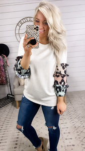 Heading Out- Oatmeal Top w/3/4 Colorful Leopard Sleeves