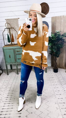 Stuck With Me- Distressed Cowhide Sweater -RESTOCKING SOON!