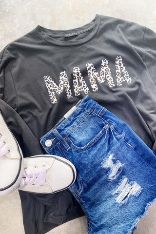 MAMA- Black & Leopard Graphic Cropped Long Sleeve Tee