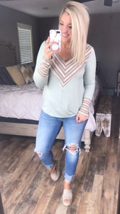 Chevy Style - Sage/Taupe V-Neck