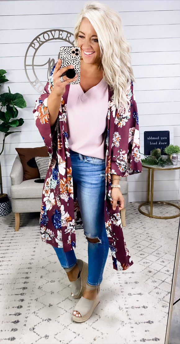 Good Intentions- Plum w/ Floral Kimono