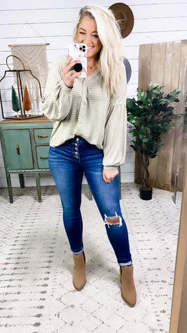 It's Obvious- Olive w/ Rust Stripes Button Down Top