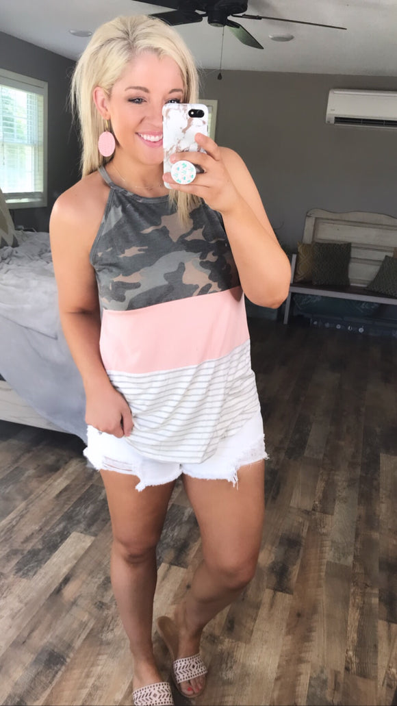 Make It Happen- Camo/Blush/Stripes Color Block