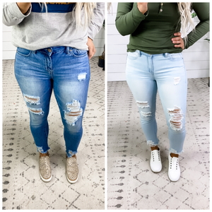 The Keshia's- {Light Wash & Dark Wash} Distressed Skinny Jeans
