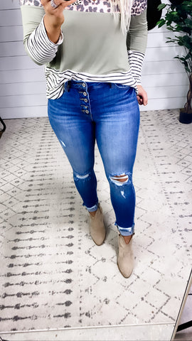 The Nikki's- Distressed Cuff Med Wash Skinny Jeans