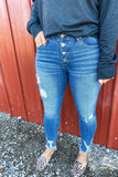The Clara's- {Black & Denim} Distressed Button Skinny Jeans