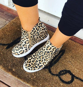 Walk The Line- Leopard Print Sneaker Wedge