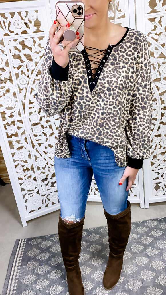 Why Don't We- Leopard Deep V w/ Lace-up Detail